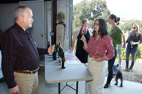 Steve at discussing wines