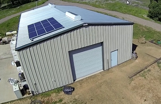 Solar Panels on roof of our Amador County Winery